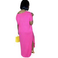 Solid Color V Neck Slits Maxi Dress with Pockets