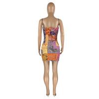 Straps Printed Mini Sexy Dress