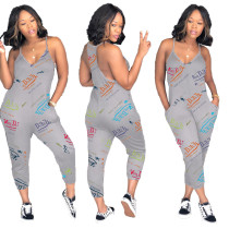 Casual Letter Printed Straps Jumpsuit with Pockets