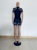 Casual Print Dyeing Mini Dress
