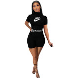 Casual Letter Print Sports Two Piece Short Set