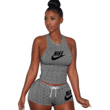 Yoga Sports Embroidery Letter Vest Short Set
