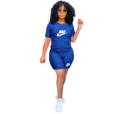 Solid Color Yoga Embroidery Sports Short Set