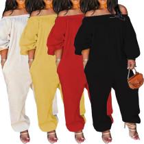 Solid Color Off The Shoulder Women Jumpsuit