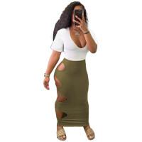Casual Short Sleeve Stitching Hole Maxi Dress
