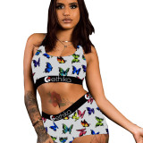 Sexy Pattern Printed Shorts Set Yoga Swimsuit Pants Set