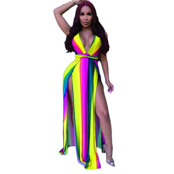 V Neck Sleeveless Split Rainbow Print Striped Sexy Maxi Dress