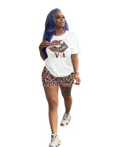 Casual Print Letter Lips Short Set