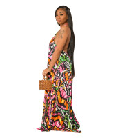 Casual Pattern Print Halter Maxi Dress