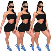 Solid Color Imitation Denim Straps Crop Top and Shorts