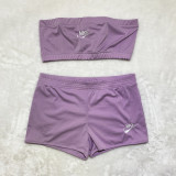 Solid Color Embroidered Letters Wrapped Shorts Set