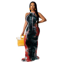 Casual Colorful Tie-dye Sleeveless Maxi Dress