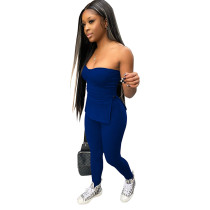 Solid Color Rib Strapless Crop Top and Trousers