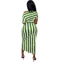Oblique Shoulder Printed Striped Irregular Dress