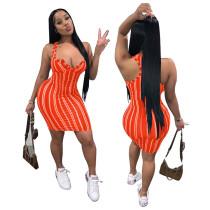 Casual Striped Print Mini Dress