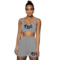 Casual Cotton Print Letter Sports Vest and Short