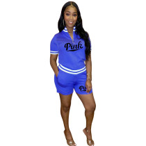 Cotton Printed Letter Sports Two Piece Short Set