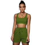 Casual Sports Double Vest and Shorts with Pocket