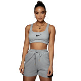 Casual Embroidery Sports Double Vest and Shorts with Pocket