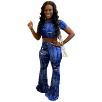 Casual Imitation Denim Print Two Piece Outfits