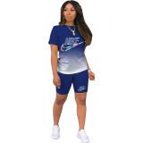 Sports Gradient Two Piece Fashion Print Short Set