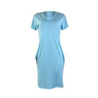 Solid Color V-neck Short-Sleeved Dress