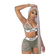Lace Letter Printed  Sexy Shorts Set