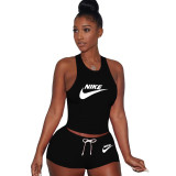 Casual Vest Embroidery Sports Two Piece Outfits