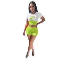 Pit Contrast Print Stitching Shorts Two Piece Outfits