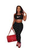 Casual Print Letter Vest and Pant