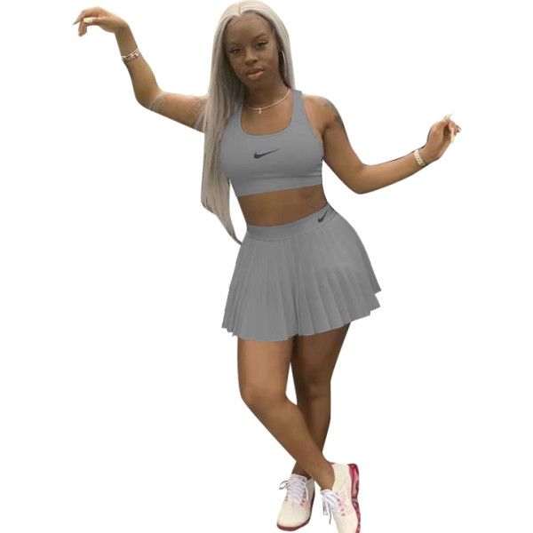 Solid Color Sports Vest Crop Top Skirt Set