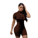 Solid Color High Neck Embroidered Romper (Available on 22th April)
