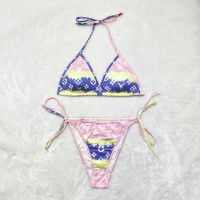 Sexy Pattern Print Double Layer Swimsuit