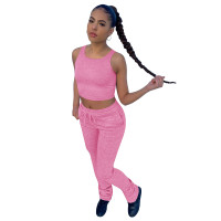 Solid Color Sports Two Piece Set Vest Crop Top and Stacked Trousers