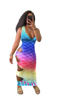 Sleeveless V Neck Gradient Print Hollow Out Sexy Maxi Dress