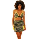 Casual Camouflage Halter Crop Top Skirt Set