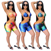 Tie Dye Print Sexy Straps Top and Short