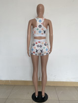 Summer Print Dyeing Vest Short Set