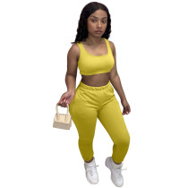 Solid Color Sports Vest and Trousers