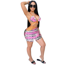 Casual Printed Straps Two Piece Outfits