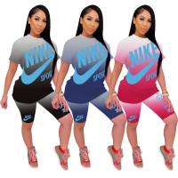 Casual Gradient Print Two Piece Outfits
