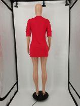 Casual Hole Letter Print Mini Dress