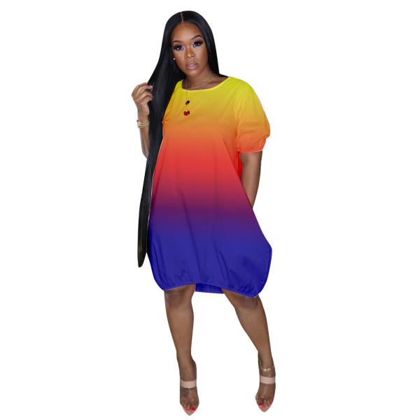 Casual Gradient Midi Bubble Dress