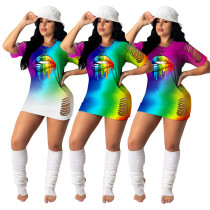 Burnt Flower Rainbow Lips Print Gradient Mini Dress
