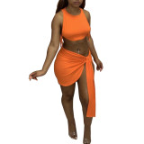 Solid Color Tie Rope Sexy Vest and Irregular Skirt