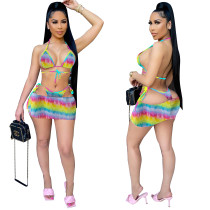 Sexy Rainbow Tie Dye Bikini Set with Skirt