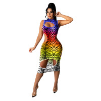 Sexy Gradient Leopard Print Midi Dress with Hole