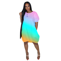Casual Gradient Midi Bubble Dress