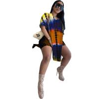 Casual Printed Hem Split Blouse and Shorts