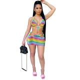 Sexy Rainbow Tie Dye Bikini Set with Skirt